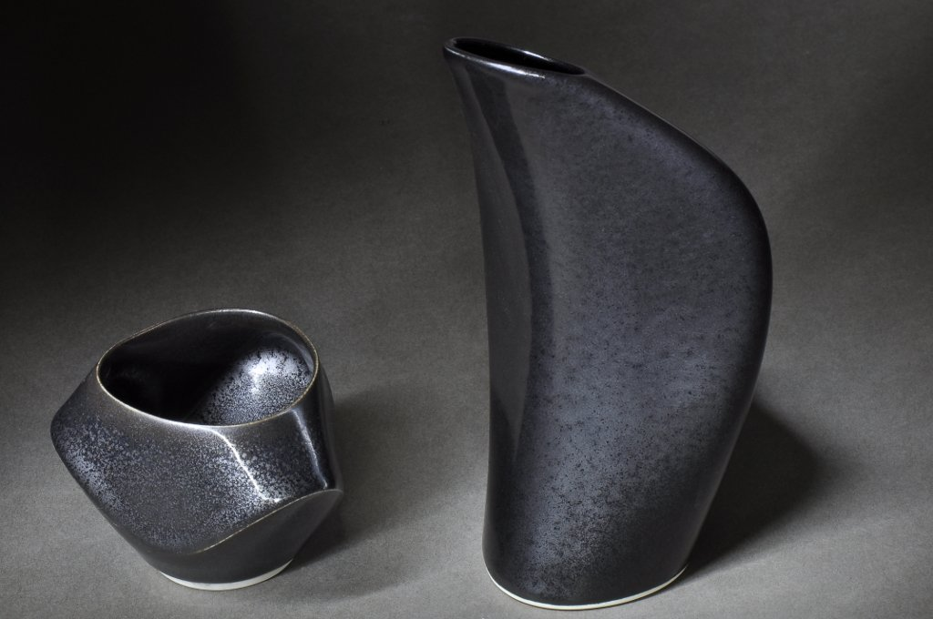 Tenmoku Sake Flask and Cup